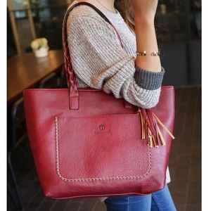 Gorgeous Genuine Merlot Leather Shopper Tote Bag